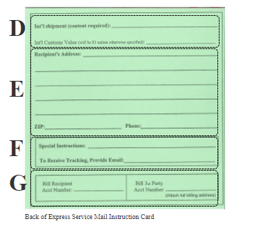 Image of the back of the express service mail instruction card