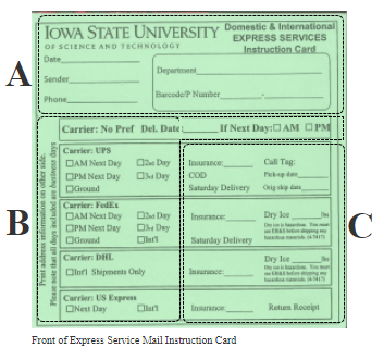 Image of the front of the express service mail instruction card